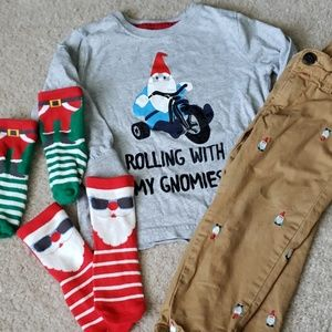 Boy's Christmas Gnome Outfit Gap Socks 2t 3t
